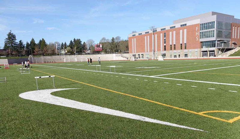 Franklin High sports field and new building