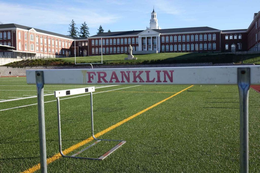 Track field and hurdle at Franklin High School